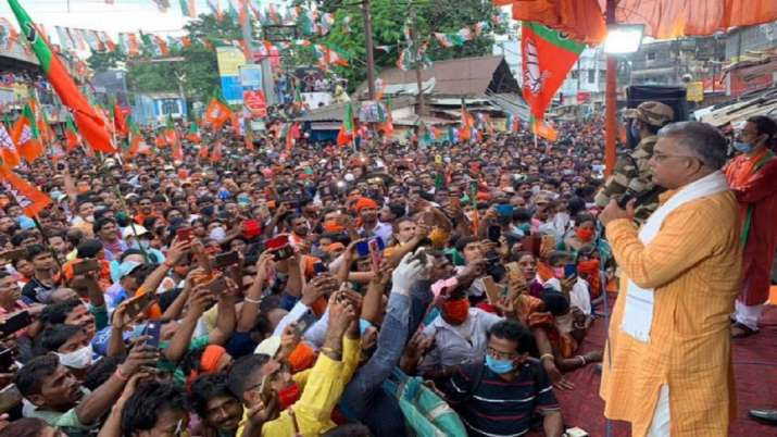 'Corona is gone' West Bengal BJP chief Dilip Ghosh declares to a packed rally in Hooghly