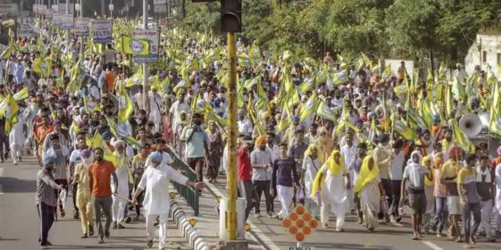 Farmers protest bare-chested in Amritsar against agriculture bills