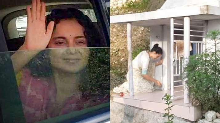 Kangana Ranaut tests COVID19 negative, leaves for Mumbai after offering prayers at a temple in Kothi
