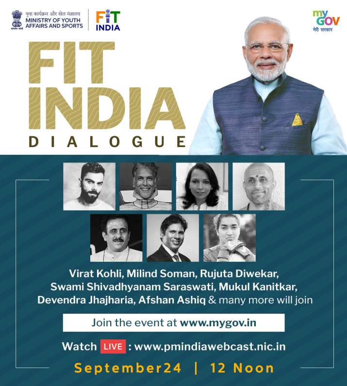 India Tv - PM Modi's Fit India Dialogue to take place at 12 pm on September 24
