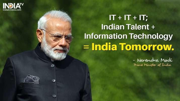 India Tv - IT + IT + IT; Indian Talent + Information Technology = India Tomorrow, says PM Modi