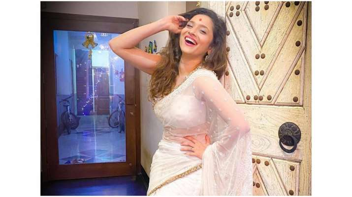 Ankita Lokhande stuns in white saree in latest post, shares secret to happiness