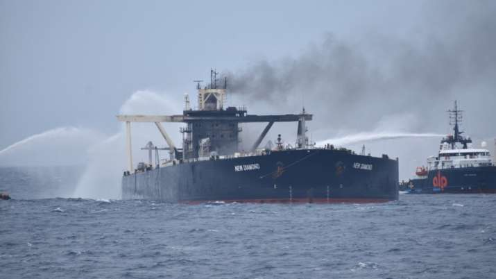 MT New Diamond catches fire again while being escorted by INS Sahyadri