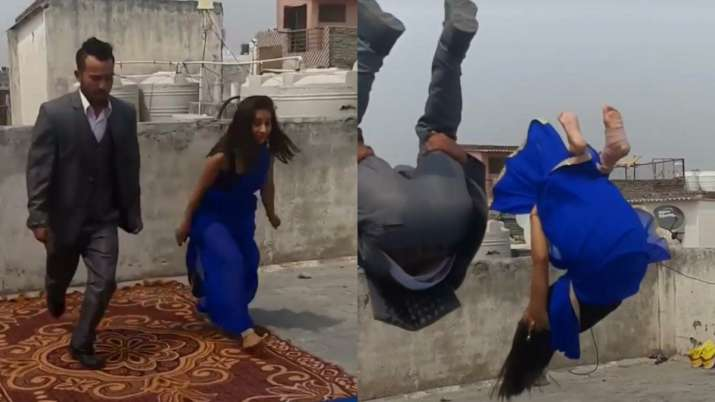 Girl performs backflip in saree and leaves netizens amazed. Video goes viral