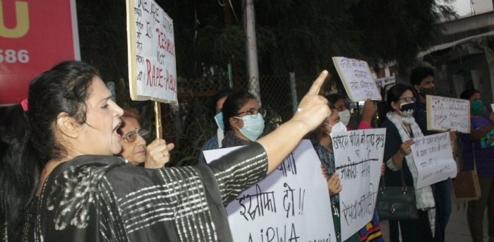 All India Progressive Women's Association (AIPWA) activists stage a protest over the death of Hathra