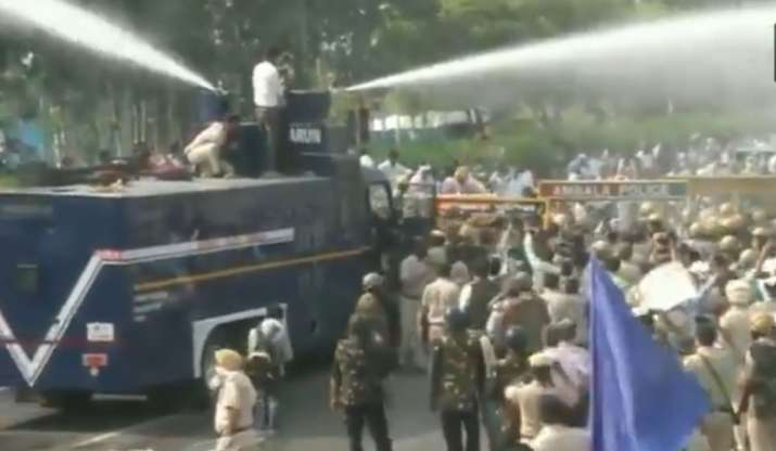Police use water canon to disperse protesting Youth Congress workers over Farm Bills in Ambala