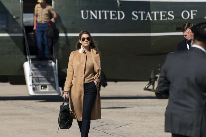 Counselor to the President Hope Hicks walks from Marine One to accompany President Donald Trump aboa