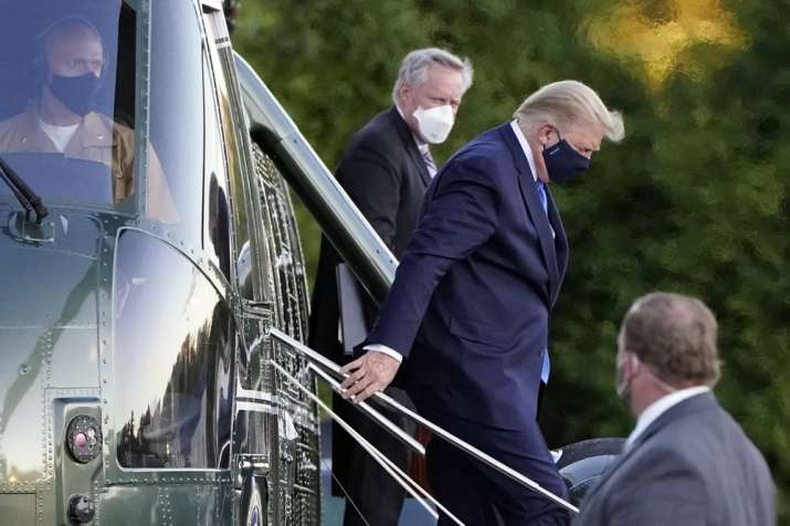 President Donald Trump arrives at Walter Reed National Military Medical Center, in Bethesda, Md., F