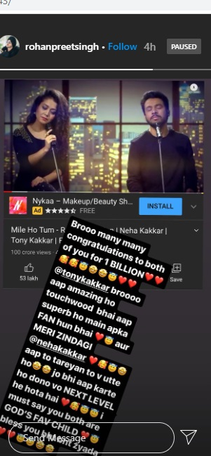 India Tv - Rohanpreet's post for Neha Kakkar