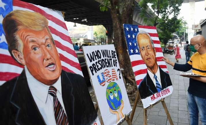 Paintings of US President Donald Trump and Democrats candidate Joe Biden