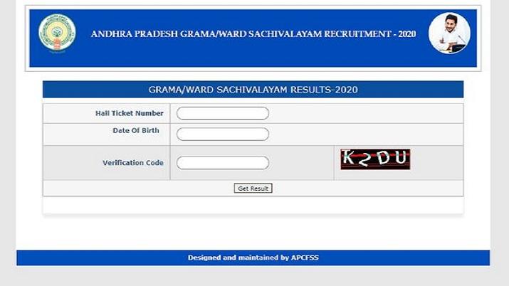 AP Grama Sachivalayam Result 2020 declared. Direct link here