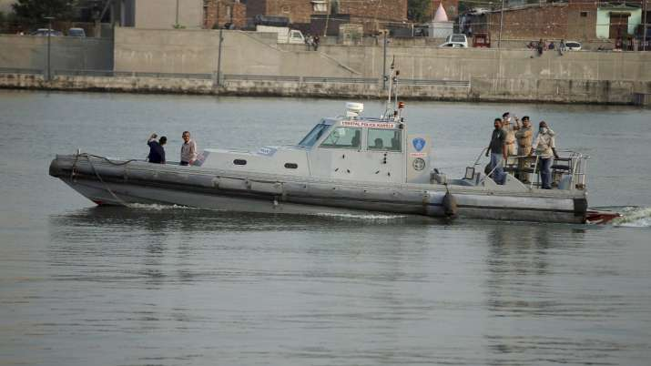 Gujarat Marine police patrol near the Seaplane airport in Sabarmati river, ahead of its inauguration