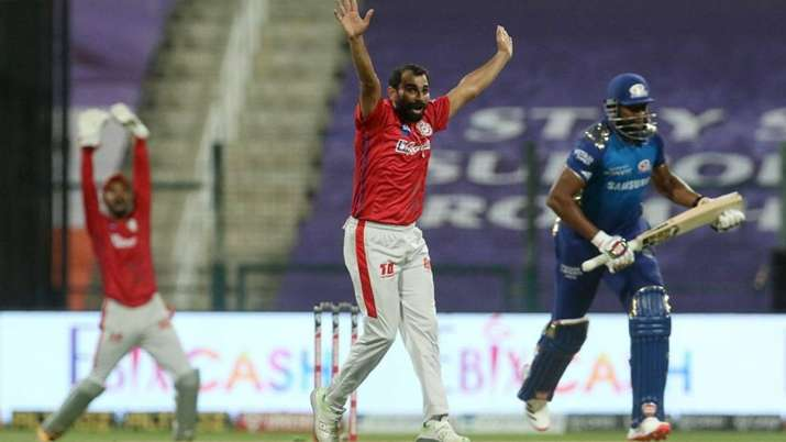 Mohammed Shami appeals unsuccessfully during KXIP vs MI tie