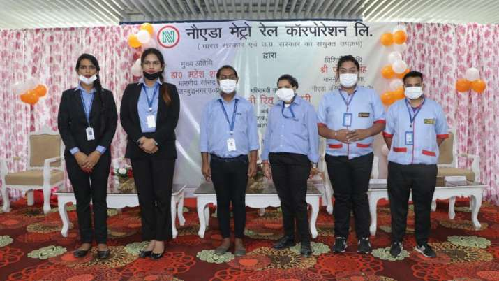 Six transgender staff hired at Noida Metro's Pride Station.