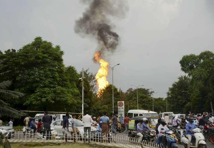 petrol pump fire
