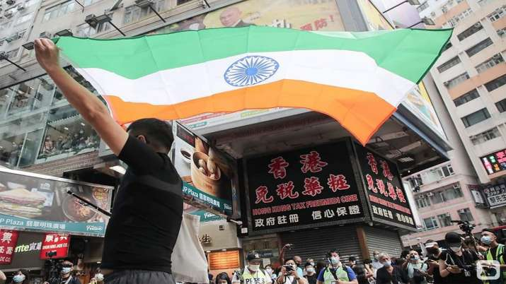Hong Kong protesters display India's national flag on Chinese National Day