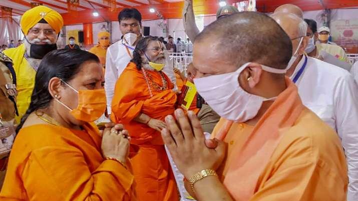 Senior BJP leader Uma Bharti and Uttar Pradesh Chief Minister Yogi Adityanath