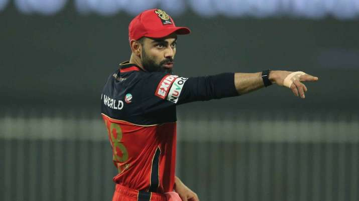 RCB skipper Virat Kohli in action against Sunrisers Hyderabad in Dubai on Saturday.