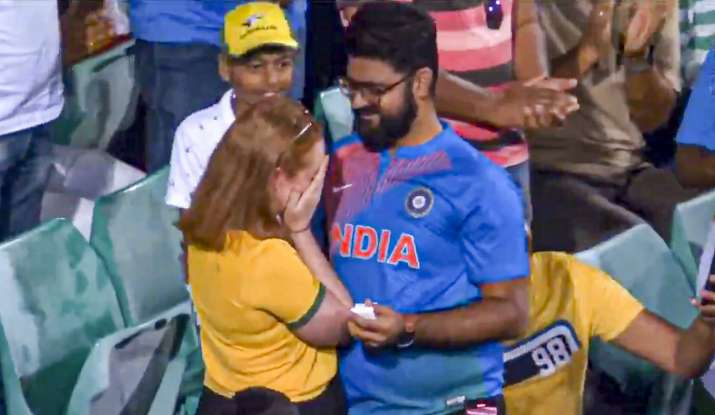 Much to his delight, the girl said yes and the entire crowd