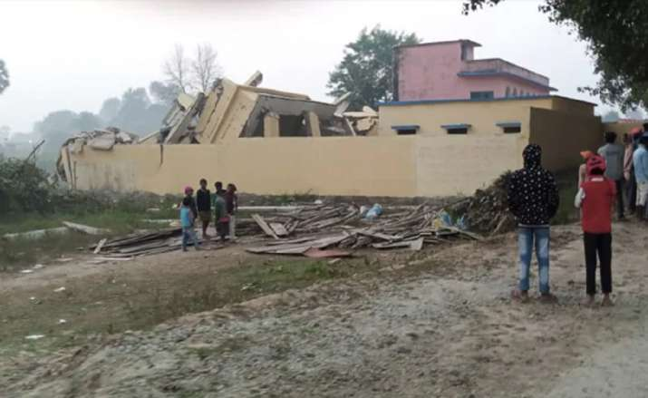 Community building blown up by Naxals in Bihar village