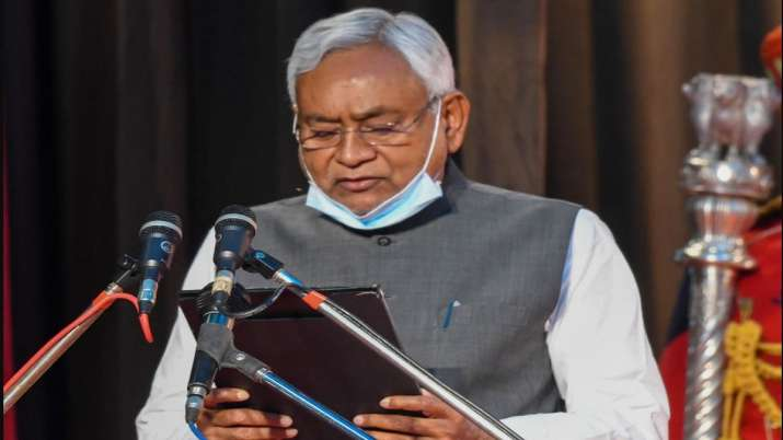 Janta Dal-United National President Nitish Kumar takes oath as the Chief Minister of Bihar at Rajbha