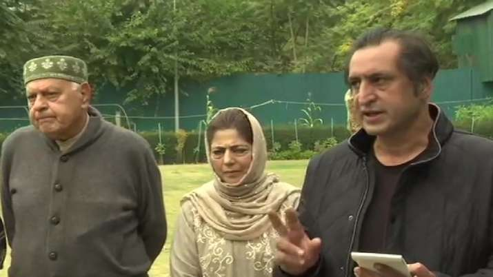 People's Alliance for Gupkar Deceleration (PAGD) leaders Farooq Abdullah, Mehbooba Mufti and Sajjad