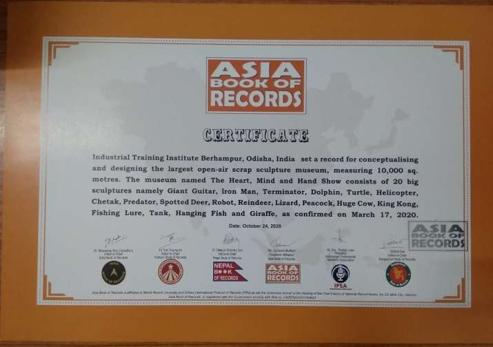 India Tv - ITI Berhampur enters Asia book of Records for its largest open-air Scrap Sculpture Park