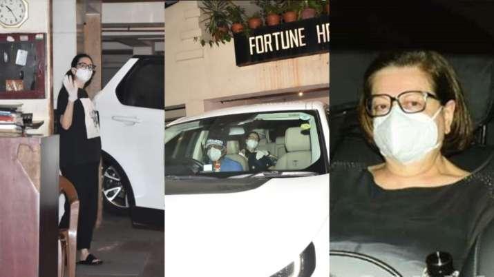 Karisma Kapoor spotted at sis Kareena Kapoor Khan's residence with mom Babita. See pics