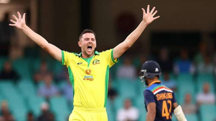 Josh Hazlewood takes the first wicket