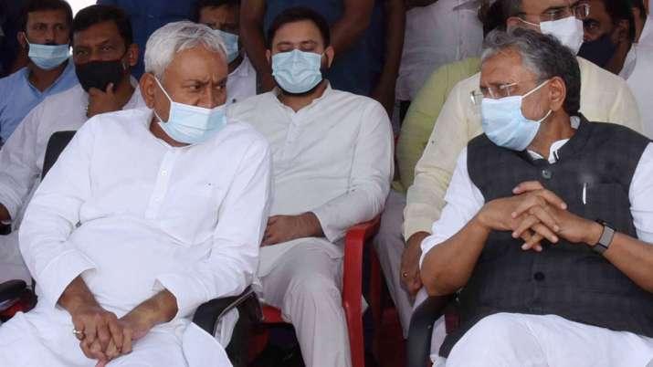 Bihar CM Nitish Kumar interacts with then Deputy CM Sushil