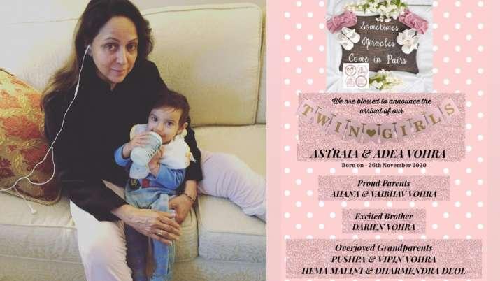 India Tv - Hema Malini becomes grandmother again, daughter Ahana Deol welcomes twin girls