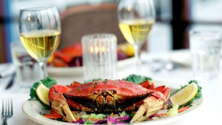 India Tv - Crab dinner, wine