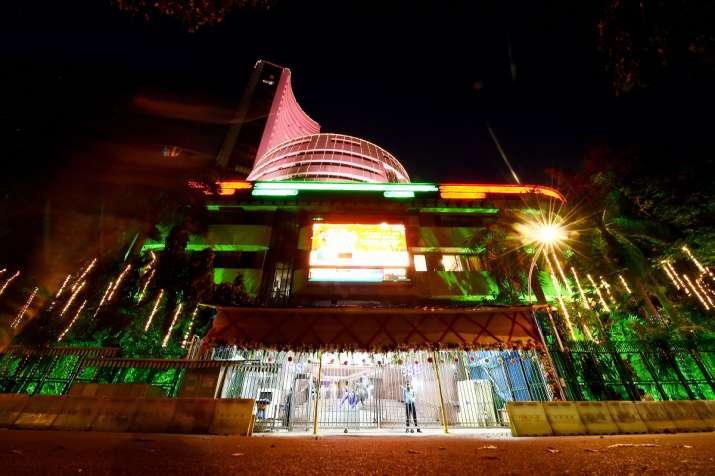 India Tv - Bombay Stock Exchange (BSE) is lit up during Muhurat trading to mark the Diwali festival, in Mumbai,