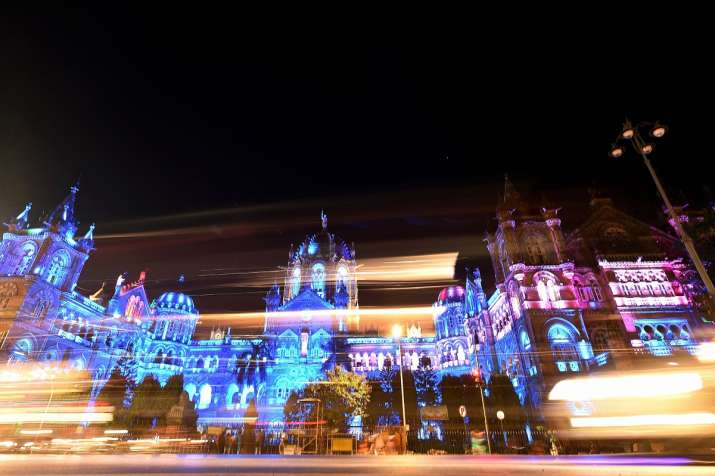 India Tv - Chhatrapati Shivaji Maharaj Terminus illuminated in blue lights to mark the World Diabetes Day in Mu