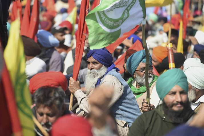 India Tv - Farmers gathered at the Singhu border as part of their