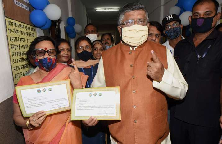 India Tv - Union Law Minister Ravi Shankar Prasad and his wife Maya Shankar show their finger marked with indelible ink after casting votes during the second phase of Bihar assembly polls, amid the ongoing coronavirus pandemic, in Patna