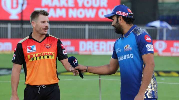 Rohit Sharma captain of Mumbai Indians with SRH counterpart David Warner during toss in Sharjah on T