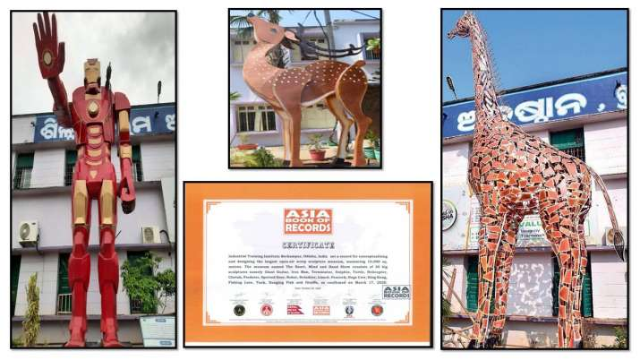 ITI Berhampur enters Asia book of Records for its largest open air Scrap Sculpture Park
