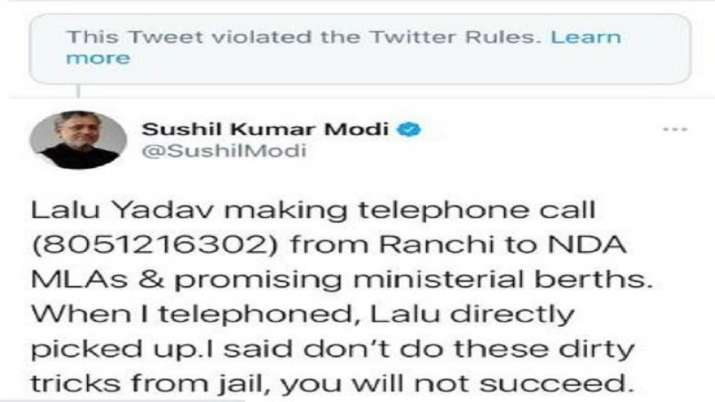 India Tv - Twitter removes Sushil Modi's tweet featuring Lalu's phone number for violating rules
