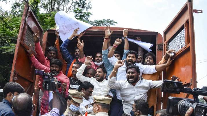 Telangana BJP protests in Hyderabad