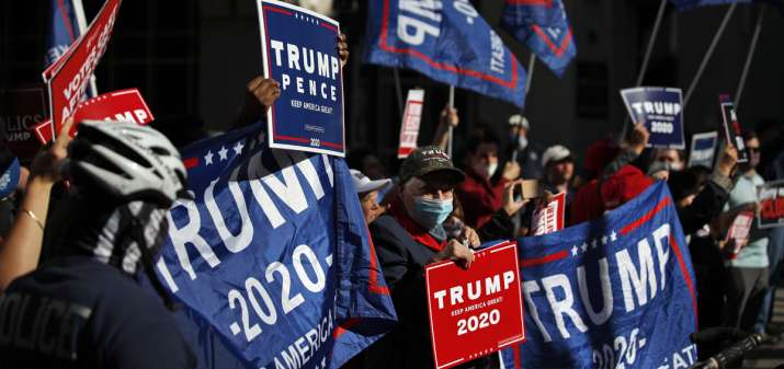India Tv - Donald Trump supporters demonstrate outside the Pennsylvania Convention Center on Thursday.