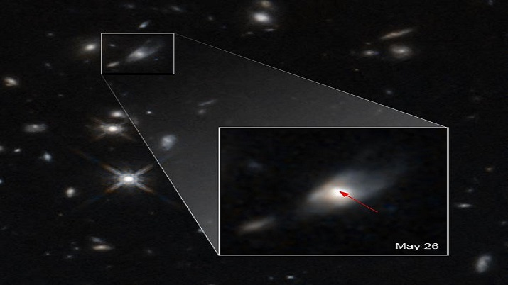 This image shows the glow from a kilonova caused by the