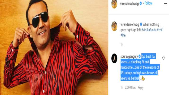 India Tv - Ganguly's comment on Sehwag's recent Instagram post.