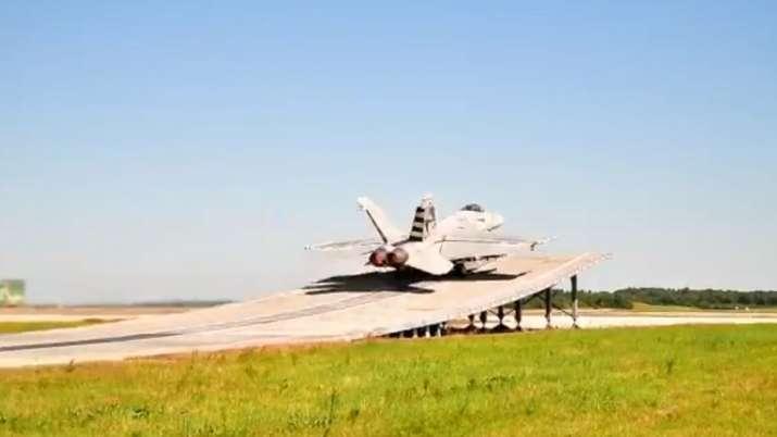 Boeing fighter aircraft, super Hornet, Indian Navy aircraft, ski jump ramp