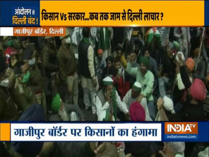 Farmers hold protest at Ghazipur border.