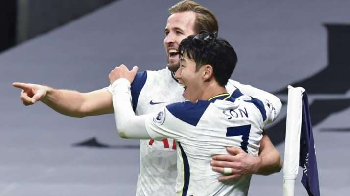 Tottenham's Son Heung-min, right, who scored his side's