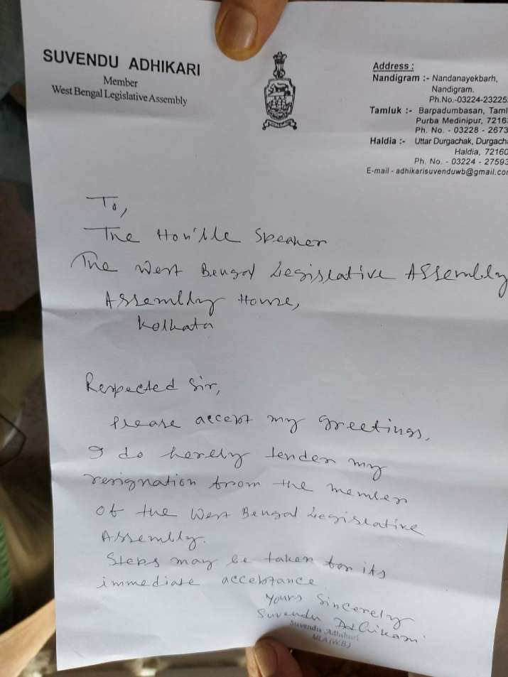 India Tv - suvendu akhikari resigns, tmc, trinamool, bjp, suvendu adhikari MLA
