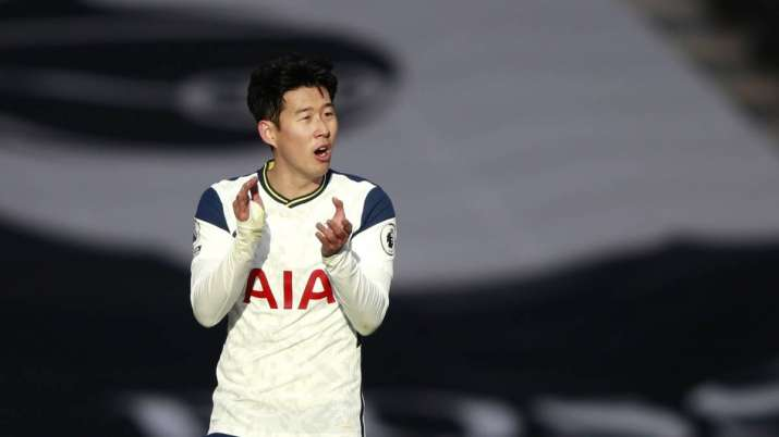 Tottenham's Son Heung-min celebrates after scoring his