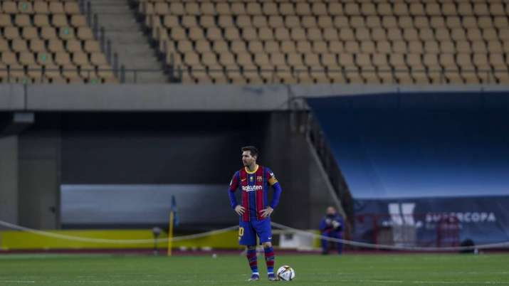 Barcelona's Lionel Messi during the Spanish Supercopa final