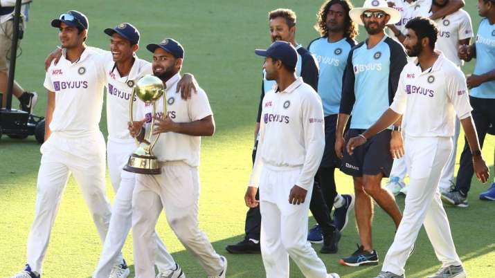Indian players celebrate after defeating Australia by three